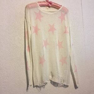 Sheer White Distressed Pink Star Sweater, S